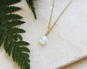 Tiny moonstone teardrop necklace - Rainbow moonstone necklace - June birthstone necklace - Genuine moonstone jewelry - Faceted teardrop