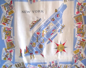 Vintage  New York City Map Tablecloth Manhattan Souvenir