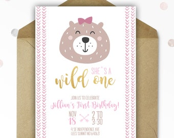 Woodland First Birthday Invitation - Bear - Wild ONE - Nature Birthday - Woodland Birthday - Printable - Personalized - 5x7