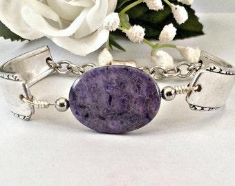 Purple Agate Spoon Jewelry, Healing Stone Bracelet For Women, Inspirational Gift Spoon Bracelet , Best Friend Gift , Mother's Day Jewelry
