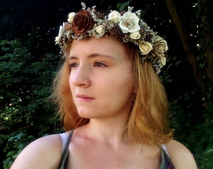 Dried floral CROWN WREATH bridal hairpiece brown cedar rose ivory sola flowers tiny cones rustic wedding satin ribbon fall autumn winter