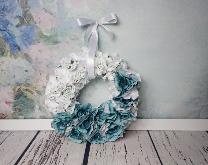 Wedding floral wreath centerpiece hanging backdrop arrangement white blue teal vintage roses decor romantic winter Christmas home decor