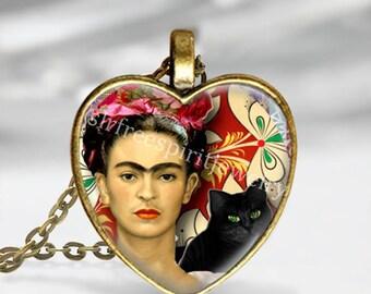 Frida Kahlo Heart Necklace, Frida With Black Cat, Heart Pendant, Women Artist, Mexican Art, Art Pendant, Frida Kahlo Gift