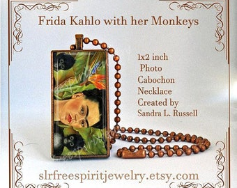 Frida Kahlo Necklace, Frida Kahlo Painting with Monkey, Mexican Artist, Mexico, 1x2 Rectangle Necklace, Famous Artist, Frida Kahlo Gift