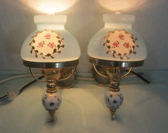 Pair of 1950's French wall lights, blue glass and gold wall sconces, French vintage lighting, cottage chic, bedroom lights,