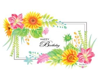 Watercolor Sunflower Clip Arts