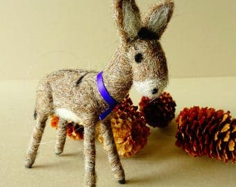 Miniature donkey figurine, needle felted animal gift, farmhouse decor, Christmas ornament rustic kitchen decor, cottage housewarming gift