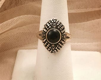 Vintage Black Onyx Dotted Designed Gothic Victorian Sterling Silver Ring