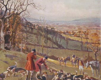 Vintage HORSE Print 1924 -LIONEL EDWARDS - Vintage Horse Art - Fox Hounds Print - Fox Hunting in the Hills - Matted  - Ready to Frame