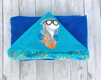 Shark Hooded Baby Towel, Shark Hooded Toddler Towel, Kid's Beach Towel, Personalized Hooded Towel, Shark Towel