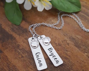 Mommy Necklace Personalized With Kids Names | Birthstone Necklace For Moms | Necklaces For Moms | Mommy Tags Necklace With Birthstones