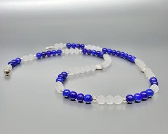 Long Lapis Lazuli and Crystal necklace with Sterling silver - natural genuine Lapis Lazuli - royal blue and white jewelry-Statement Necklace