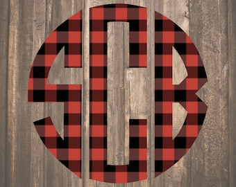 Red Buffalo Plaid Monogram Decal | Buffalo Plaid Decal | Red Buffalo Check Monogram Decal | Buffalo Check Decal