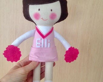 Cheerleader, Plush Doll, Girls, Great gift, Toys for baby, Cute stuffed doll, Birthday Gift, Handmade