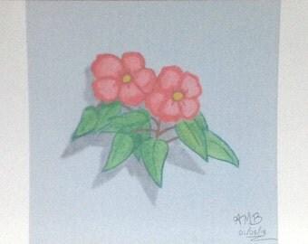 3D Pink Flower Pencil Art Print Signed
