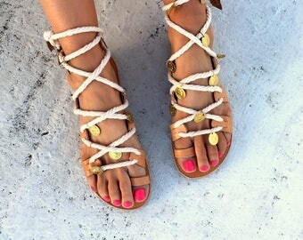 Lace up Leather sandals with rope