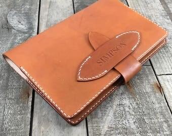 Refillable Leather Journal Cover, Full Grain Leather, Hand Made Journal Cover, Hand Stitched Journal Cover, Personalised Journal Cover