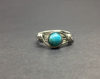Hemimorphite Wire Wrapped Ring