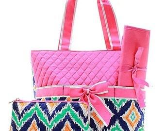 IKat Print Monogrammed Diaper Bag Hot Pink Trim