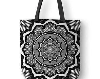 Geometric Art Tote, Original Mandala Art, Unique Totes, Mandala Bags, Shoulder Bag Pattern, Black And White Tote Designs