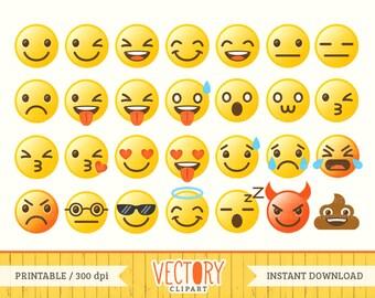 Emoji Clipart Set, Emoji Clip Art, Smiley Face Set