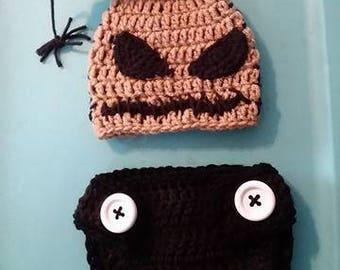 Crochet oogie boogie costume, baby oogie boogie, oogie boogie cosplay, inspired by NMBC