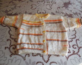 Handknitted baby CARDIGAN 96 month - mushroom buttons