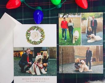 Family Christmas Card Printable, Monogram Card, Photo Christmas Card, Custom Christmas Card, Holiday Card, Wreath, Custom, Printable