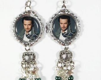 "Richard Armitage Earrings ""Ultimate Fan"" Style w/ Beads and Heart Charms"