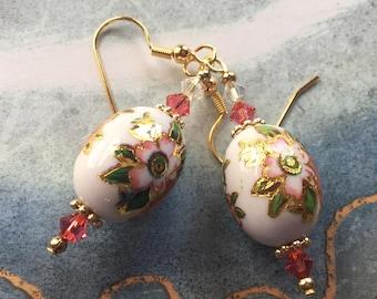 Beaded Dangle Earrings, Beaded Earrings, Earrings, Pink Flower Earrings, Gift For Her, Dangle Earrings
