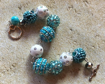 Blue Beaded Bracelet, Glass Bracelet, Blue Beadwork Bracelet,  Bracelet, Jewelry, Gift Idea,  Womens Jewelry, For Her
