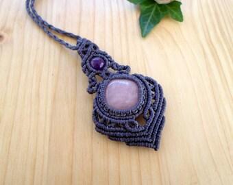 Rose quartz macrame pendant, macrame jewelry, hippie pendant, rose quartz jewelry, macrame stone, gemstone pendant, bohemian jewelry