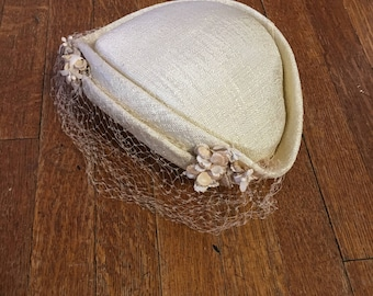 Vintage White Hat with Veil