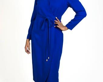 Vintage 1980s Long Sleeve Shoulder Pad Midi Warm Wool Winter Wrap V-Neck Waist Tie Royal Blue Dress