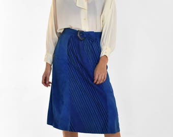 Vintage Blue Suede Leather Midi Skirt Striped A-Line Warm Lined Belted Plastic Belt Buckle 70s 80s Womens Size Medium