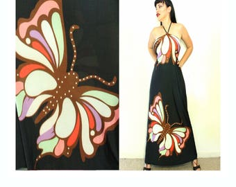 BUTTERFLY HALTERNECK MAXI Dress 90s does 70s Retro Shirred Back swimsuit fabric