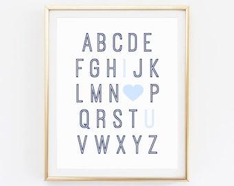 Nursery Alphabet Sign, Alphabet Letters For Nursery ABC Wall Art, Nursery Abc  Chart Printable