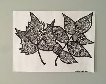 Intricate Leaf, Sharpie Drawing
