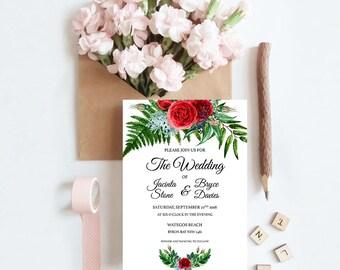 Crimson Natives Wedding Invitation