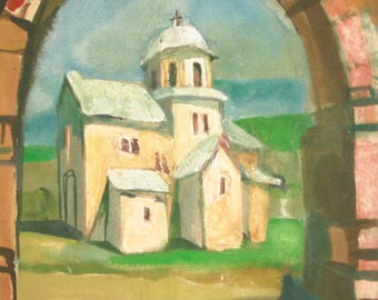 1991 European art oil painting landscape church monastery, signed