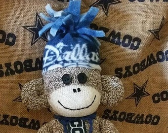 Dallas Cowboys Sock Monkey, Man Cave Decor, Sock Monkey Doll
