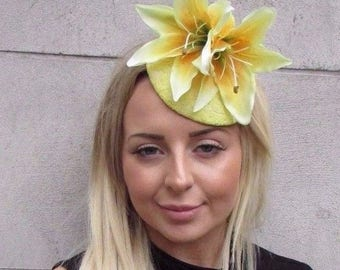 Lemon Yellow Lily Flower Fascinator Hat Wedding Hair Clip Races Rockabilly 3150