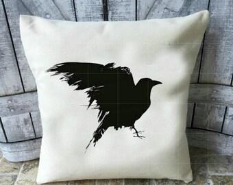 Raven Pillow, Black Raven Pillow, Canvas Pillow, Country Pillow, Nevermore, The Raven, Edgar Allen Poe, Canvas Pillow