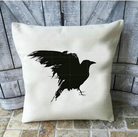 Halloween Pillow, Raven Pillow, Canvas Pillow, Halloween Decoration, Nevermore, The Raven, Edgar Allen Poe, Halloween Decor
