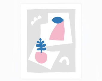 Scandinavian print, abstract print, illustration, minimalist, scandinavian art, abstract art, geometric print, wall art, shapes, pink, blue