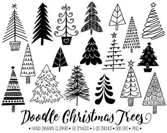 Doodle Christmas Tree Clip Art. Hand Drawn Christmas Tree Illustrations. Winter Clipart for Gift Tags, Christmas Stamps, DIY Cards, Stickers