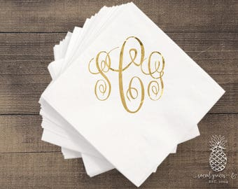 Classic Script Monogram Wedding Napkins | Weddings | Bridal Showers | Engagement Parties | Hot Stamp Foil | Metallic Foil Personalized