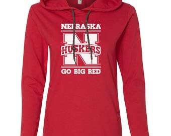 Women's Nebraska Huskers GO BIG RED Long Sleeve Hooded Tee Shirt Hoody With Relaxed Unlined Hood With Contrasting Drawcord