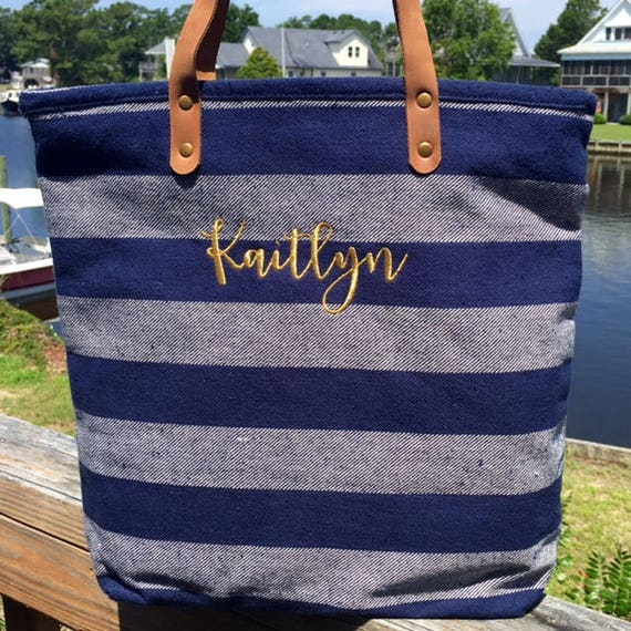 Monogrammed Tote Navy Striped Tote Personalized Tote Bag Bridesmaids Gifts Weddings Bridal Shower Gifts Monogrammed Bags Highway12Designs