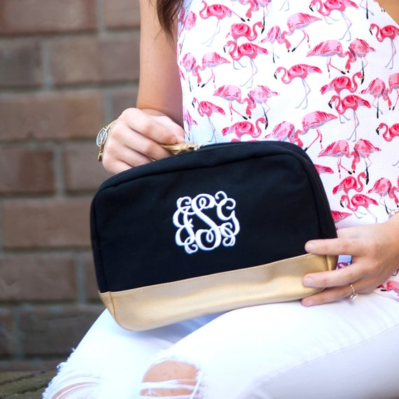 Monogrammed Makeup Bag Black and Gold Cosmetic Bag Monogrammed Bags Personalized Embroidered Bag Black Monogrammed Gifts Bridesmaid Gifts